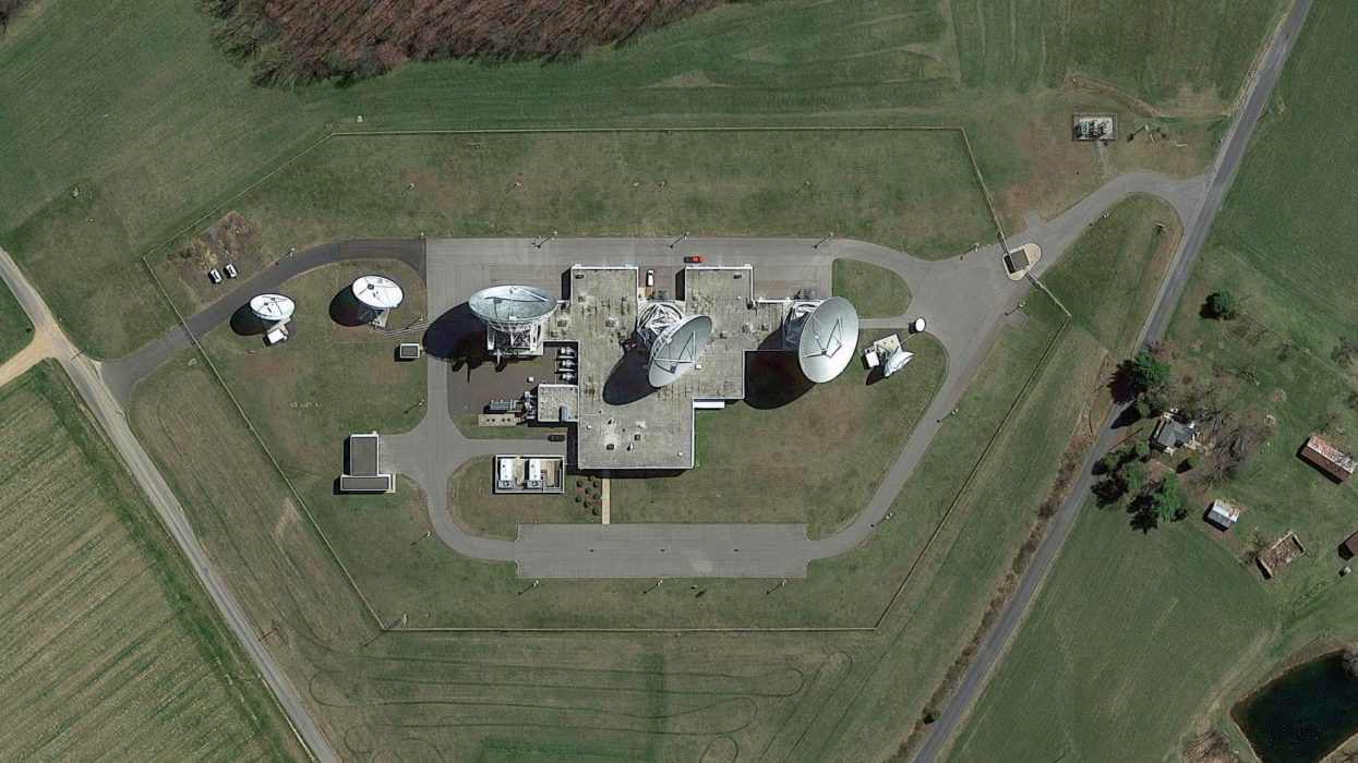 Aerial view of satellite dish array