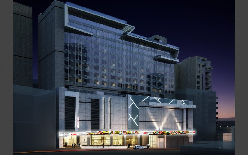 Rendering of hotel at night