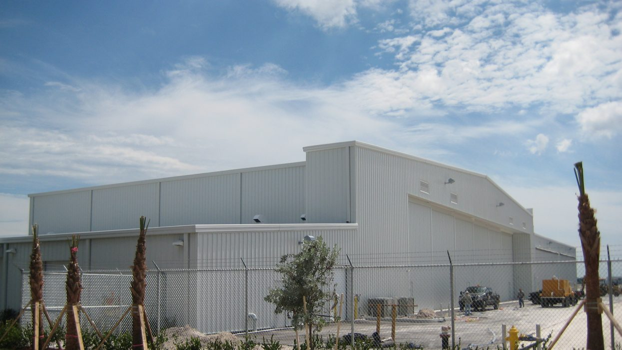 Exterior view of hangar