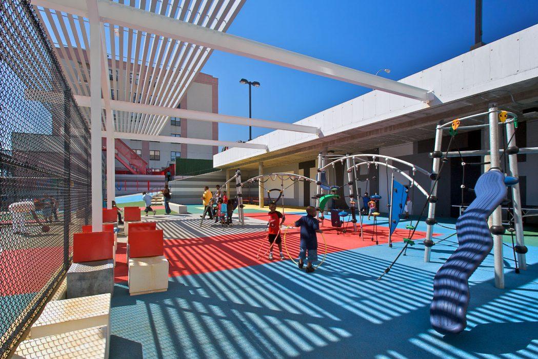 Ground level view of playground