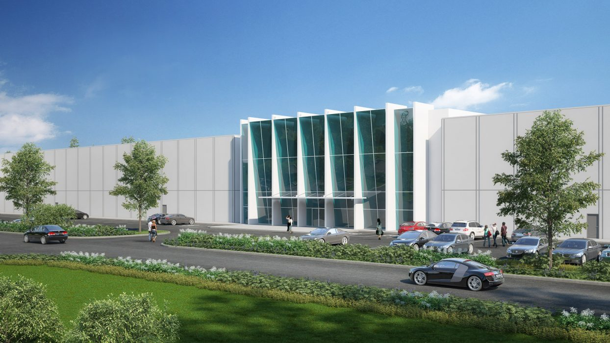 Rendering of entrance with vertical glazing