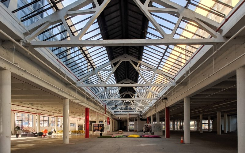 Interior view of existing skylight over open industrial space