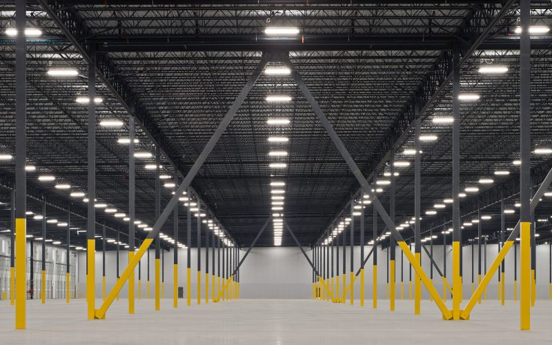 Interior view of high bay industrial or logistics building
