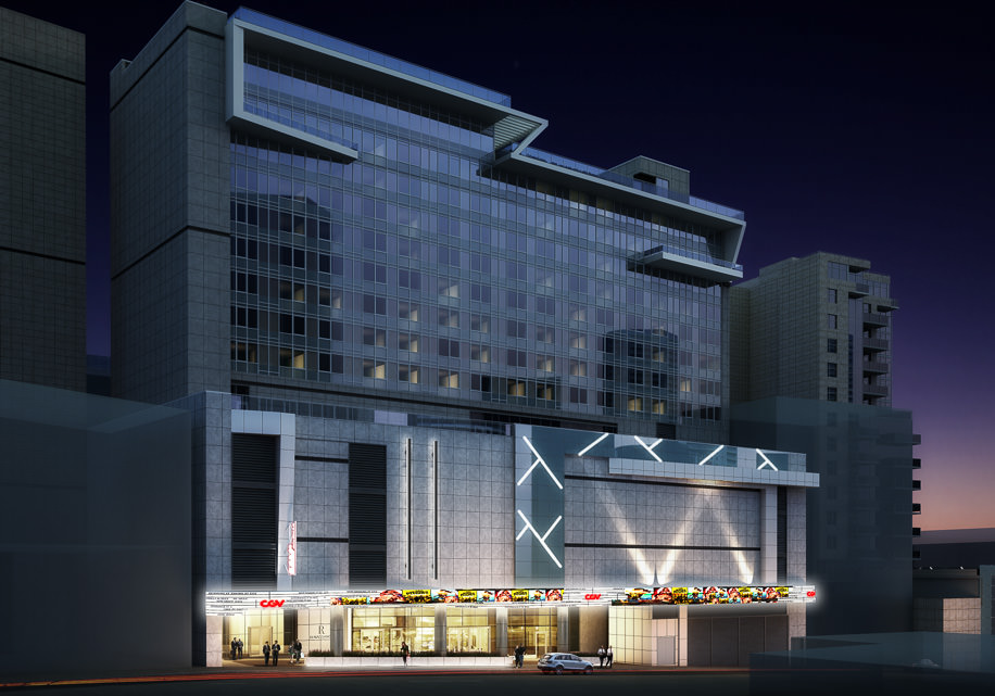 Rendering of hotel with theater marquee at base
