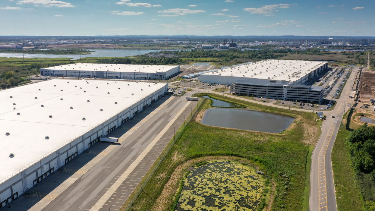 Aerial view of three buildings at Matrix Global Logistics Park