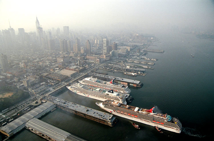 Aerial view of ocean liners docked at terminal