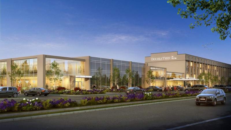 Rendering of Doubletree hotel at dusk