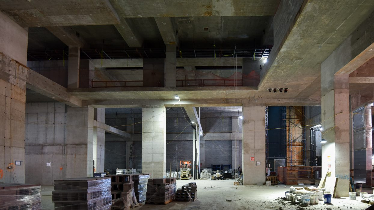 Construction photo of space to be used by multi-screen cinema