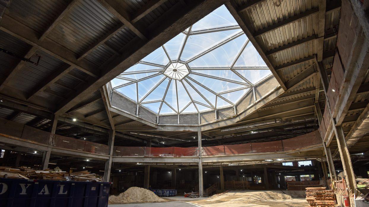Looking up at skylight over wintergarden under construction