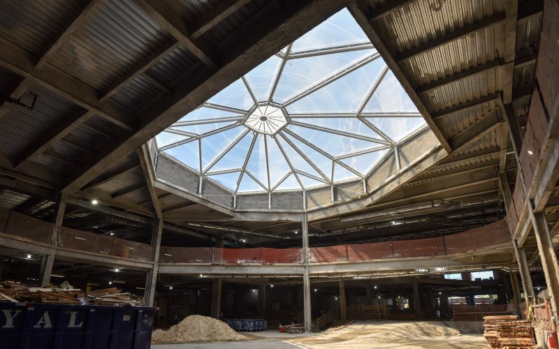 Looking up at skylight over wintergarden under construction