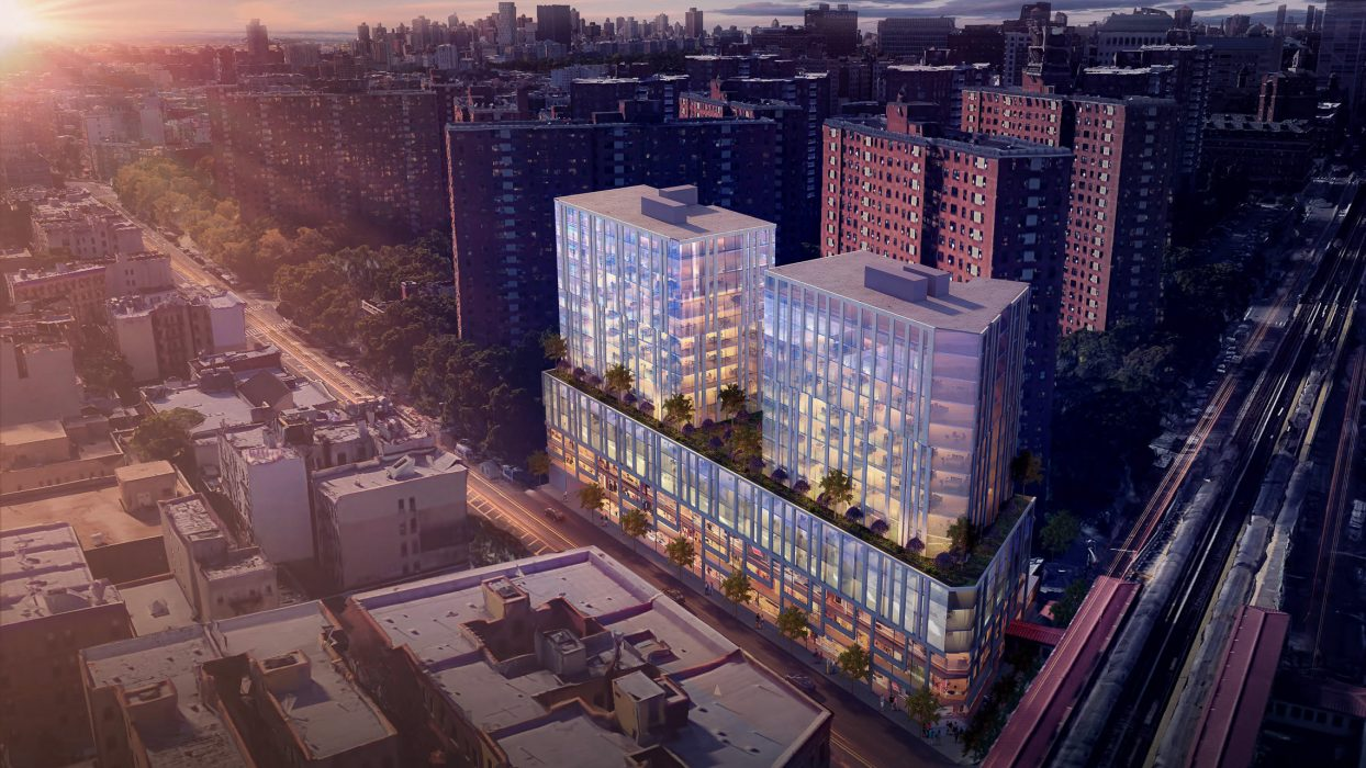 Aerial rendering of new mixed-use development