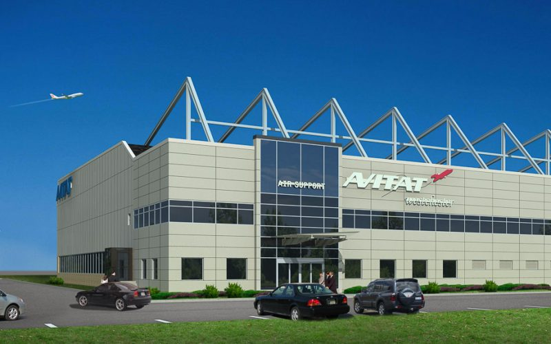Exterior of aviation terminal facility with Avitat signage
