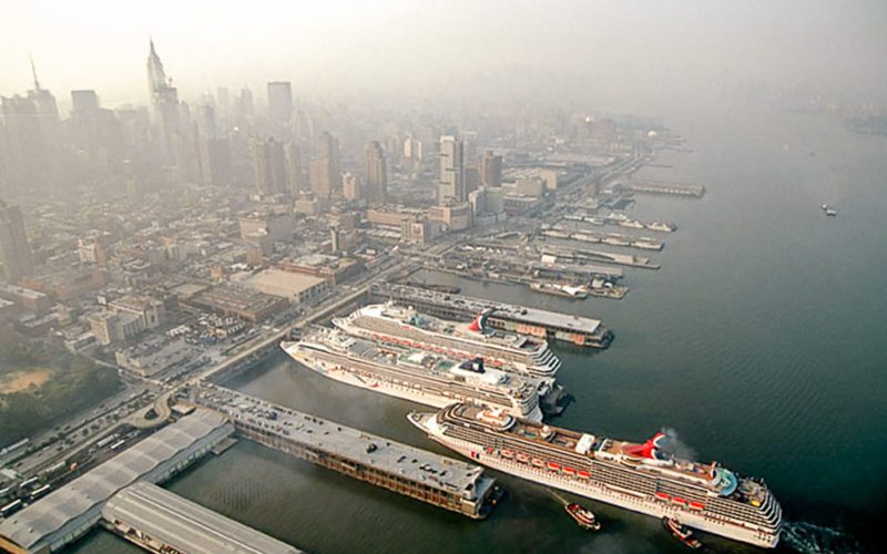 Aerial view of cruise ships at terminal