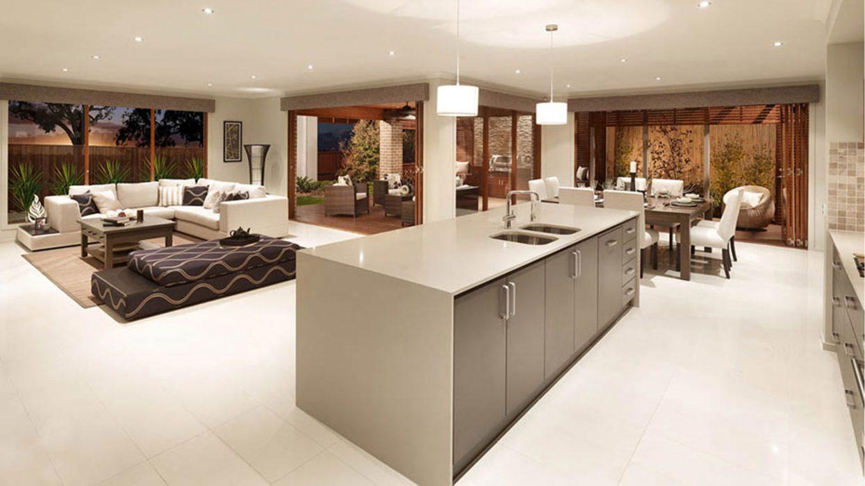 Interior with island kitchen