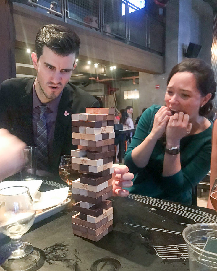 MHA staff and Jenga