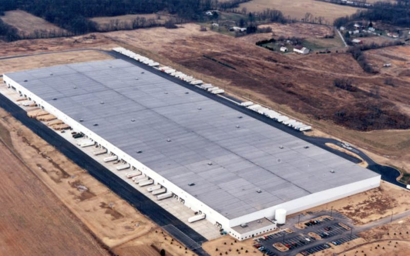 Aerial view of logistics building for Ames True-Temper