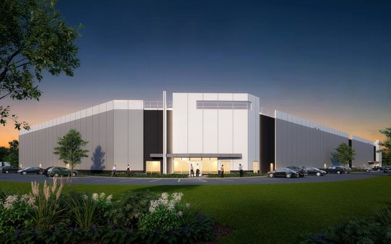 Dusk view rendering of logistics facility