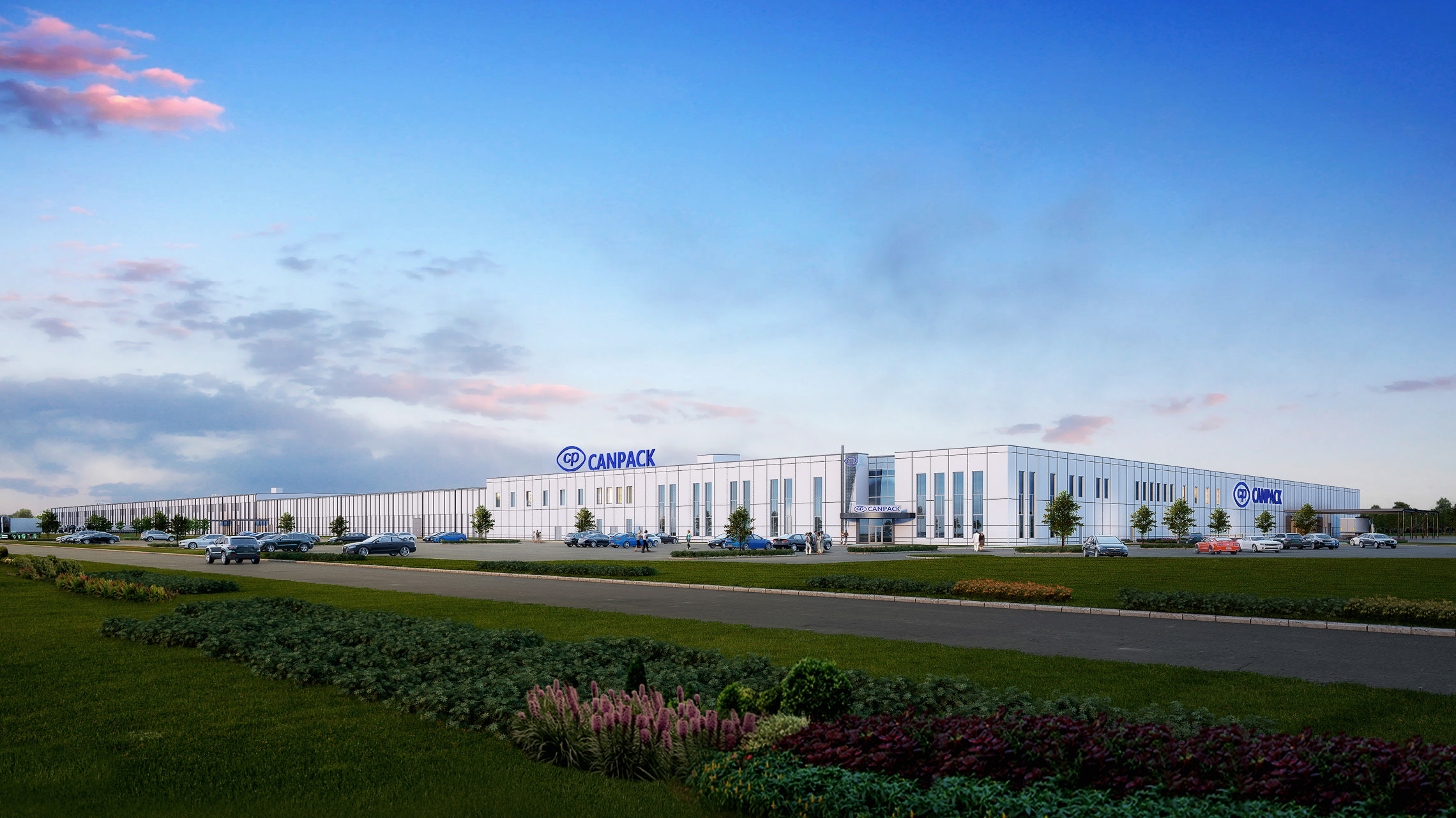 Exterior rendering of new manufacturing facility with